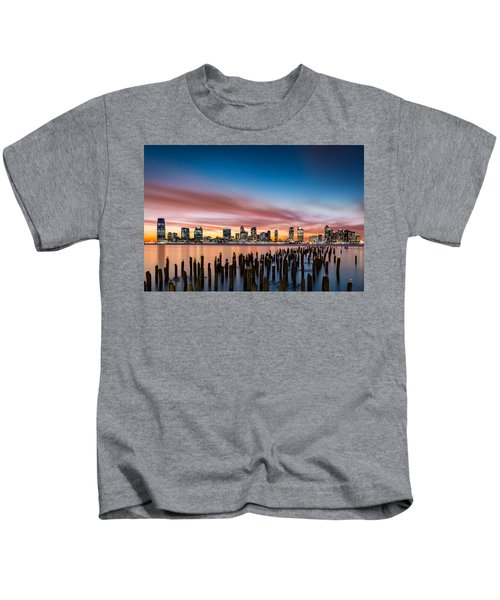 Jersey City Skyline At Sunset Kids T-Shirt