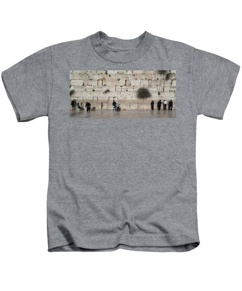 Jews Praying At Western Wall Kids T-Shirt