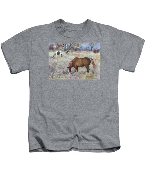 Jill's Horses On A November Day Kids T-Shirt