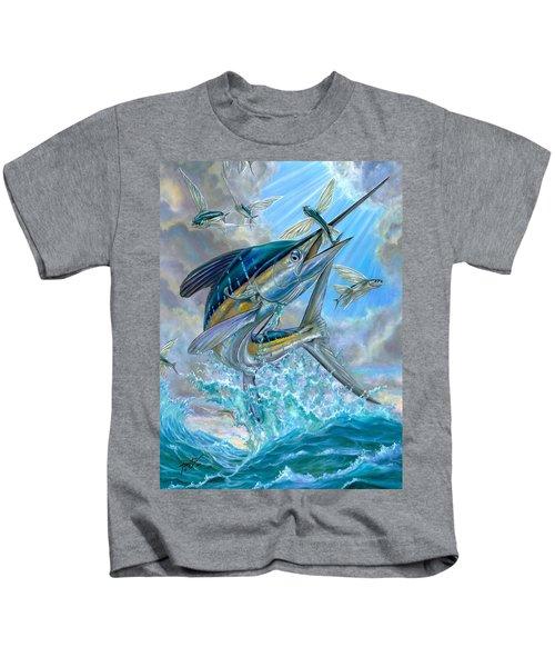Jumping White Marlin And Flying Fish Kids T-Shirt