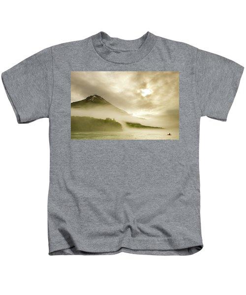 Kayaker And Marine Fog On The Alsek Kids T-Shirt