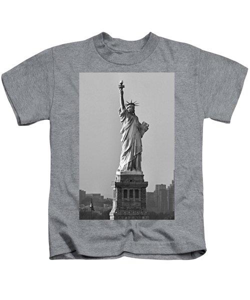 Lady Liberty Black And White Kids T-Shirt
