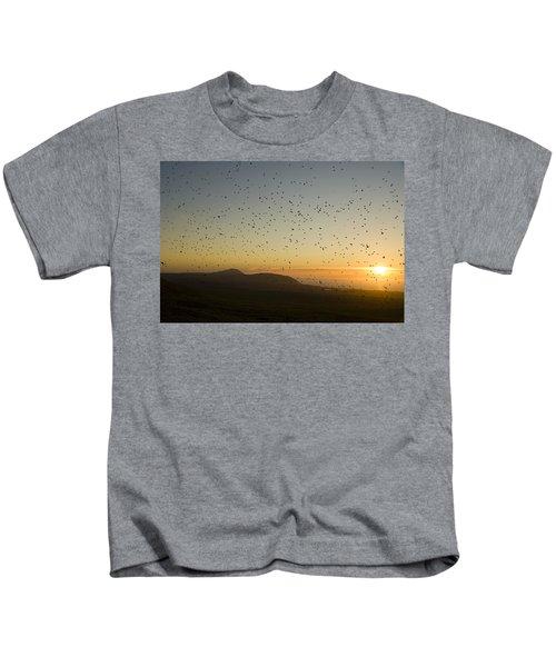 Least Auklets, Returning To Their Nest Kids T-Shirt by Brian Guzzetti