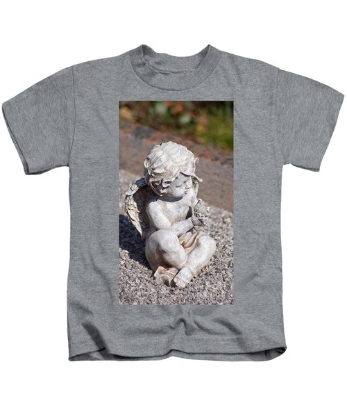 Little Angel With Bird In His Hand - Sculpture Kids T-Shirt