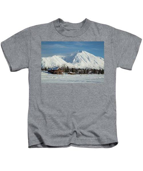 Log Cabins On Frozen Lake Shore Kids T-Shirt