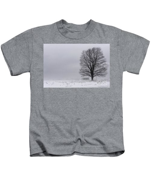 Lone Tree In The Fog Kids T-Shirt