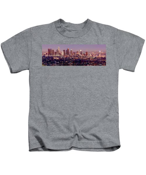 Los Angeles Skyline At Dusk Kids T-Shirt by Jon Holiday