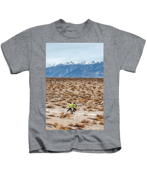 Man And Woman  Trail Running Kids T-Shirt