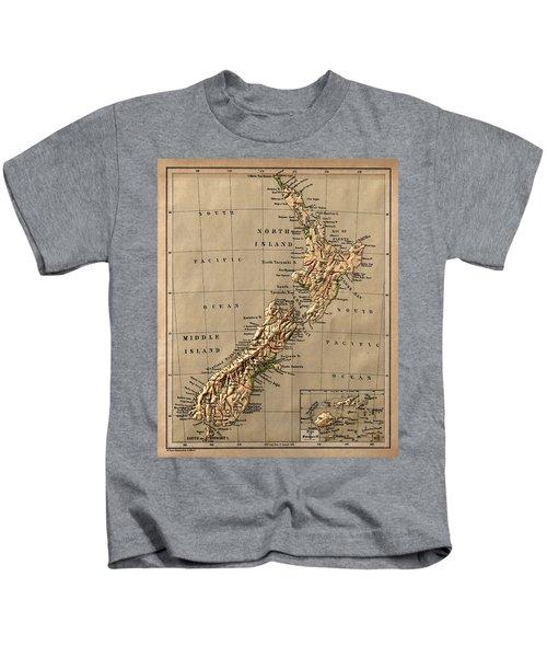 Map Of New Zealand 1880 Kids T-Shirt