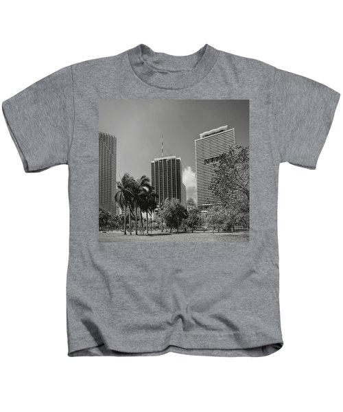 Miami Cityscape  Bw Kids T-Shirt