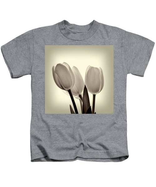 Monochrome Tulips With Vignette Kids T-Shirt
