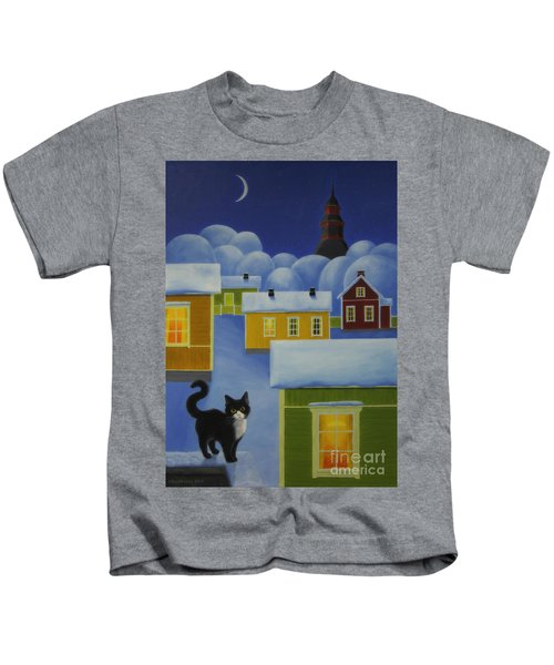 Moonlight Cat Kids T-Shirt