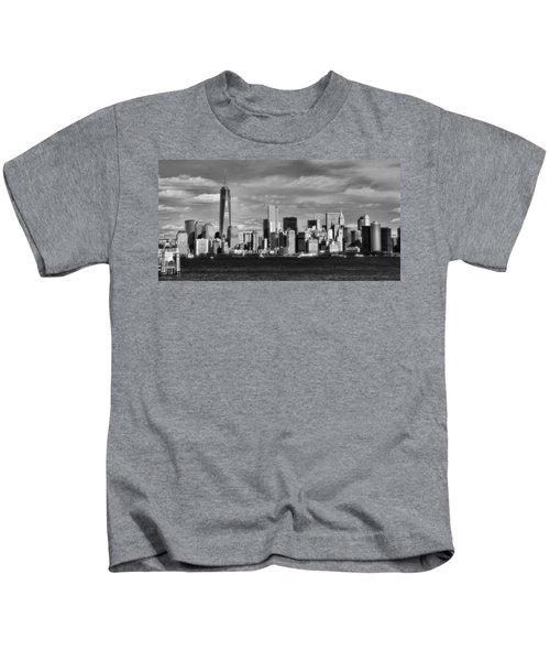 New York City Skyline Black And White Kids T-Shirt