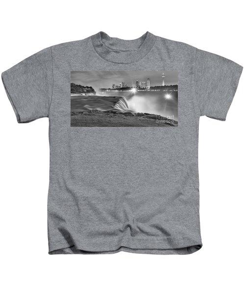 Niagara Falls Black And White Starbursts Kids T-Shirt
