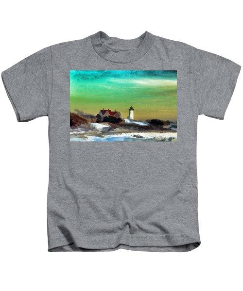 Nobska Lighhouse In Winter Kids T-Shirt