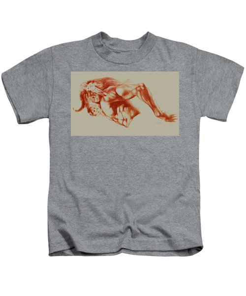 North American Minotaur Red Sketch Kids T-Shirt by Derrick Higgins