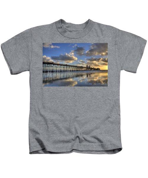 Oceanside Pier Sunset Reflection Kids T-Shirt