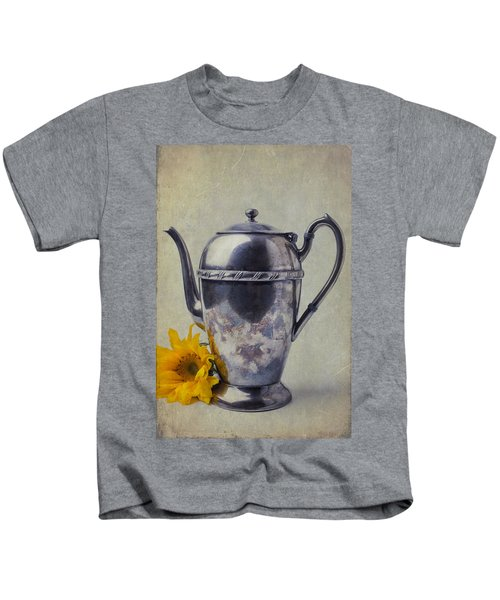 Old Teapot With Sunflower Kids T-Shirt