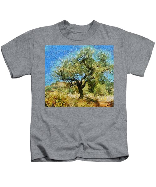 Olive Tree On Van Gogh Manner Kids T-Shirt