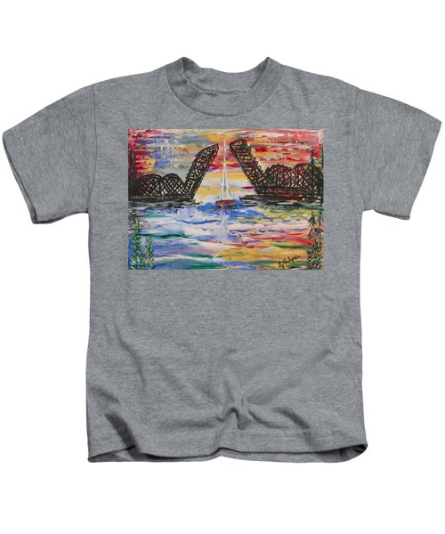 On The Hour. The Sailboat And The Steel Bridge Kids T-Shirt