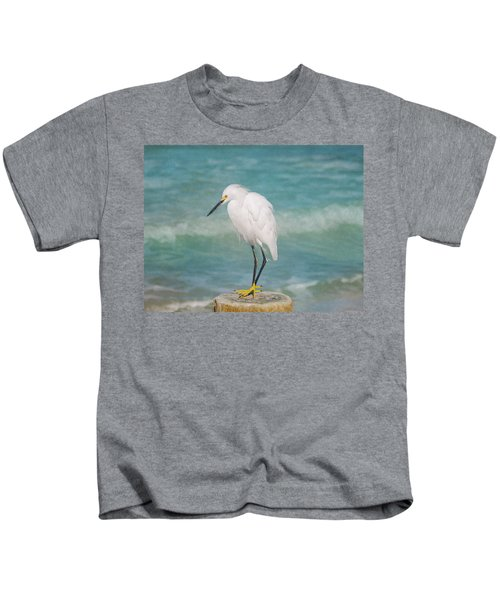 One With Nature - Snowy Egret Kids T-Shirt