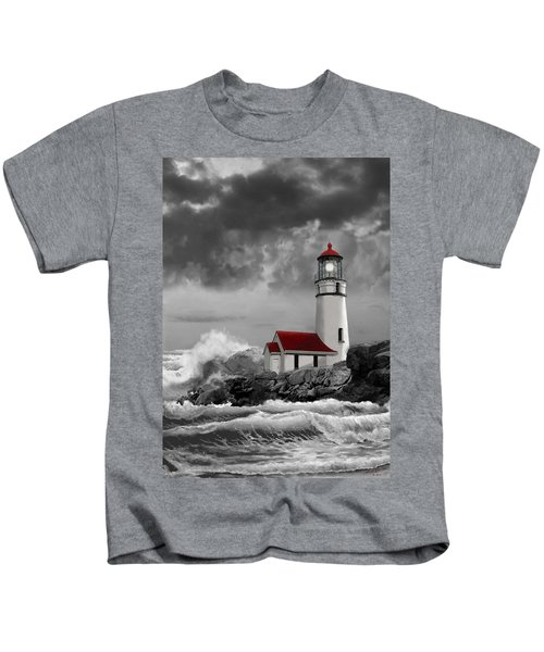 Oregon Lighthouse Cape Blanco In Black White And Red Kids T-Shirt