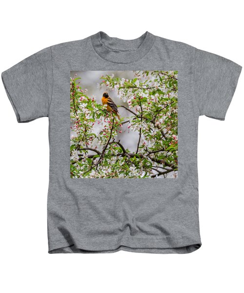 Oriole In Crabapple Tree Square Kids T-Shirt by Bill Wakeley