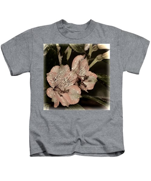 Pale Pink Lilies On Dark Background Kids T-Shirt