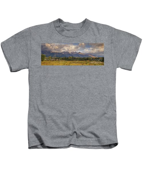 Panaroma Clearing Storm On A Fall Morning In Grand Tetons National Park Kids T-Shirt