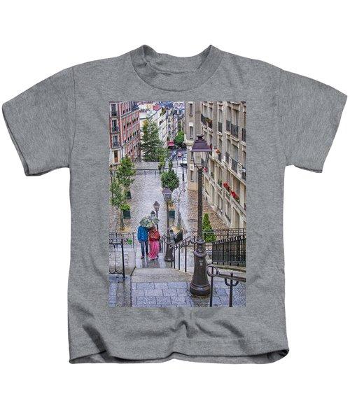 Paris Sous La Pluie Kids T-Shirt