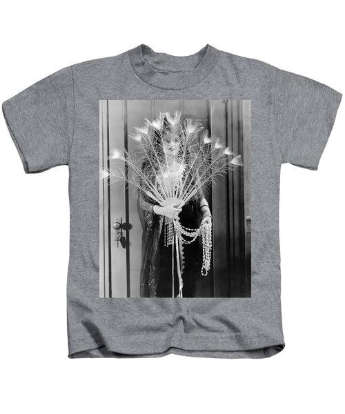 Peacock Feather Peeking Kids T-Shirt