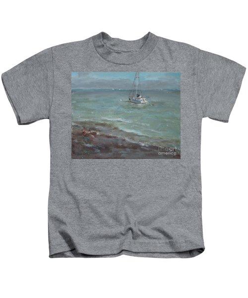 Pebbly Beach Sail Boat Kids T-Shirt