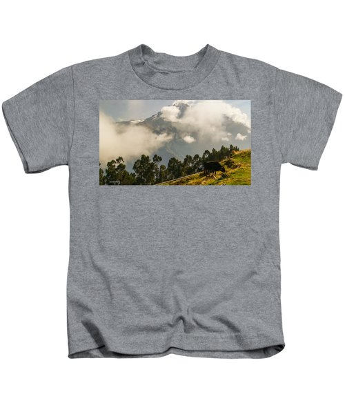 Peru Mountains With Cow Kids T-Shirt
