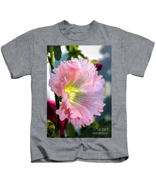 Pink Hollyhock Kids T-Shirt