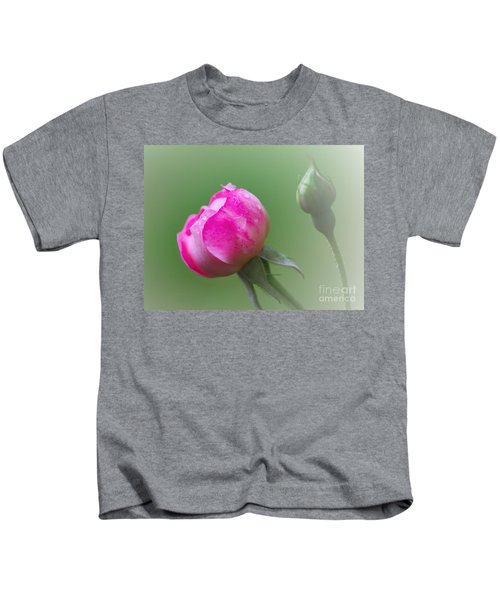 Pink Rose And Raindrops Kids T-Shirt
