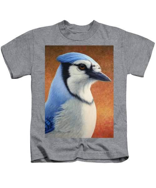 Portrait Of A Bluejay Kids T-Shirt by James W Johnson