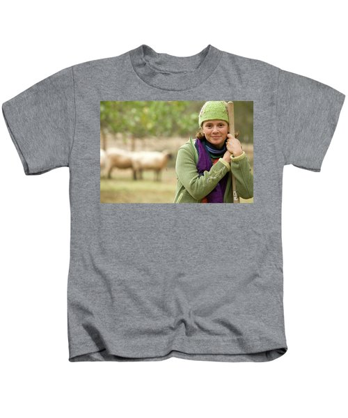 Portrait Of Young Woman Working Kids T-Shirt