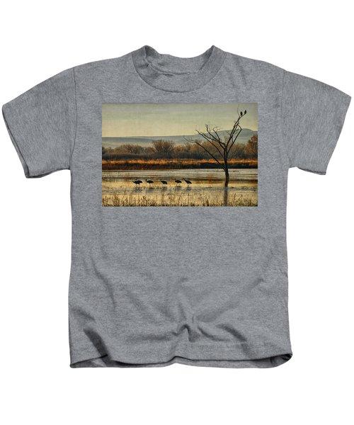 Promenade Of The Cranes Kids T-Shirt