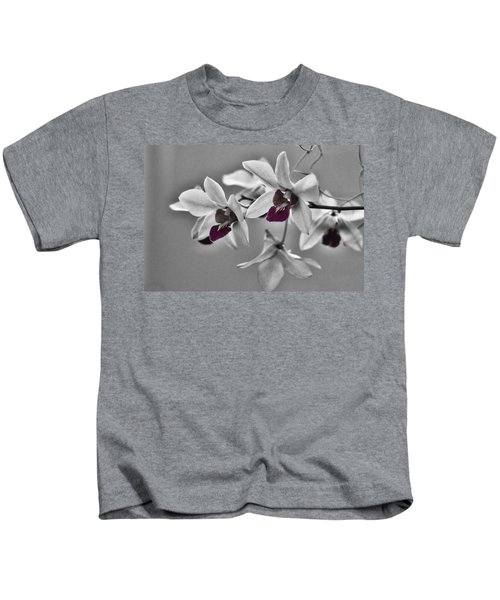Purple And Pale Green Orchids - Black And White Kids T-Shirt