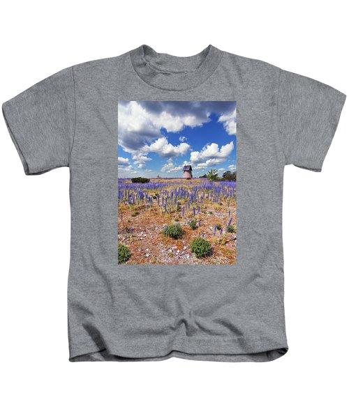 Purple Flower Countryside Kids T-Shirt