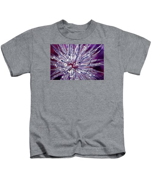Purple Tentacles In Abstract Flower Shot Kids T-Shirt