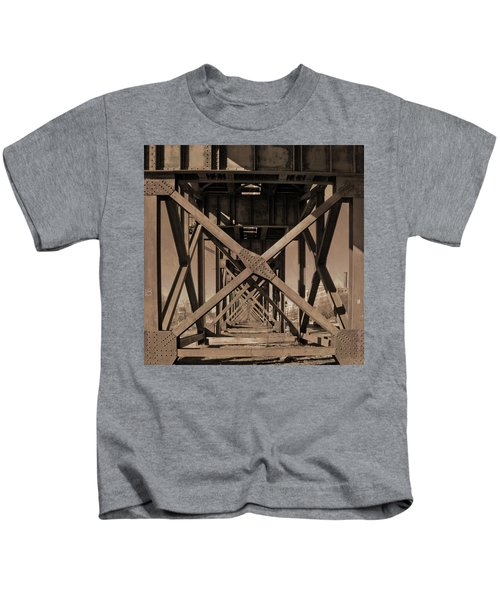 Railroad Trestle Sepia Kids T-Shirt