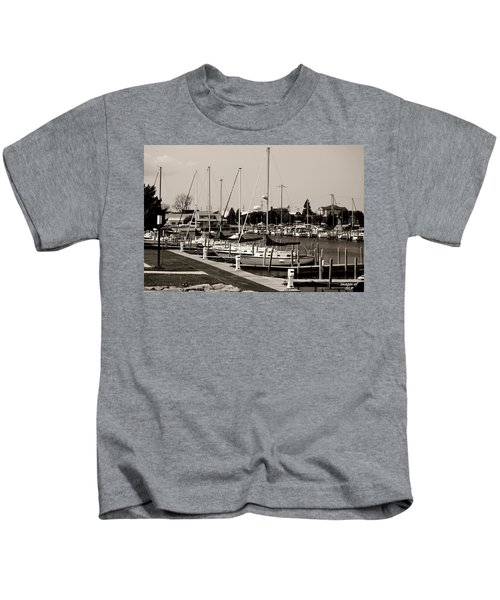 Ready To Sail In Black And White Kids T-Shirt