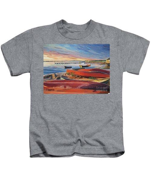 Red Canoe Sunset Kids T-Shirt