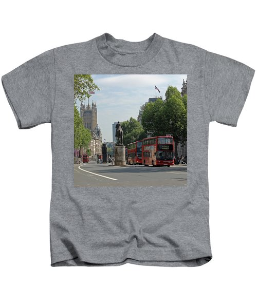 Red London Bus In Whitehall Kids T-Shirt