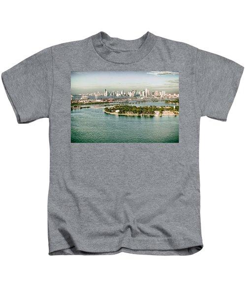 Retro Style Miami Skyline And Biscayne Bay Kids T-Shirt