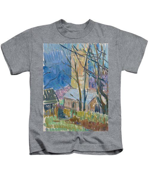 Reverend Hawkers Church At Morwenstow IIi Oil On Canvas Kids T-Shirt