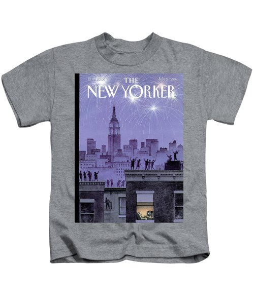 Rooftop Revelers Celebrate New Year's Eve Kids T-Shirt