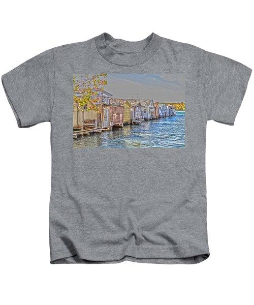 Row Of Boathouses Kids T-Shirt