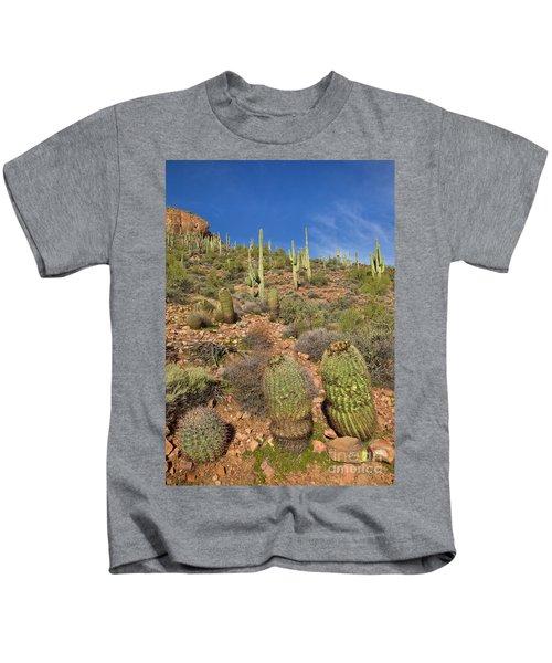 Saguaro And Barrel Cacti  Tonto N M Kids T-Shirt